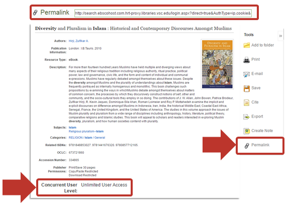 EBSCO permalink and users