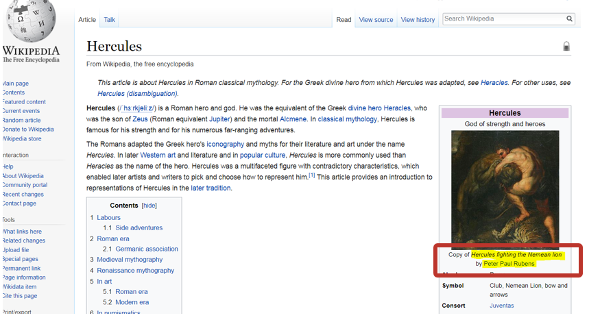 screenshot of wikipedia entry