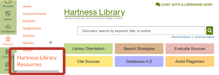 Hartness Library Resources page