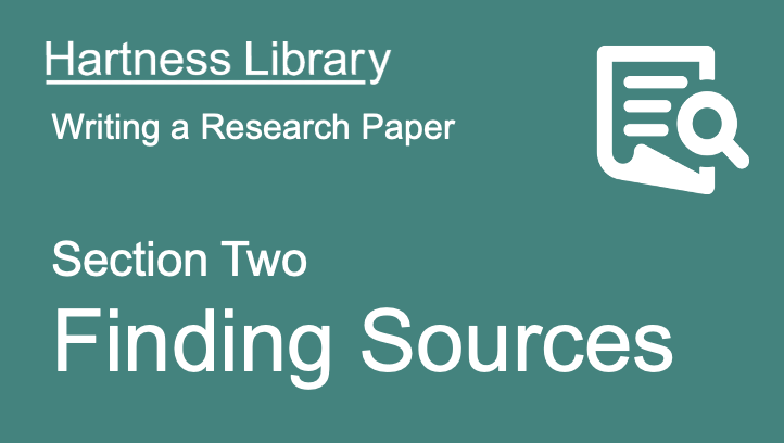 Hartness Library | Finding Sources