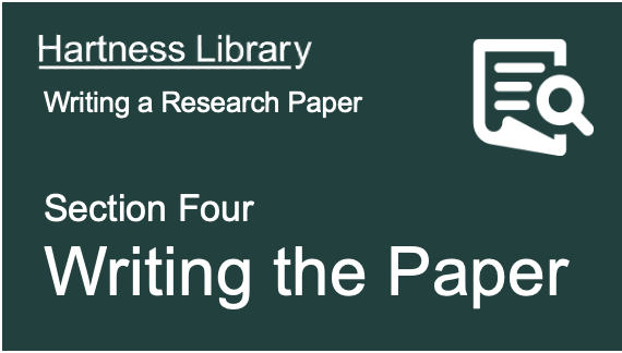 Hartness Library | Writing the Paper